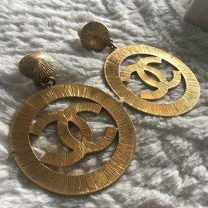 Rare Chanel Vintage CC Sunburst Icon Logo Earrings